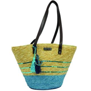 Les Tropéziennes AUD11 Turquoise Basket Bag