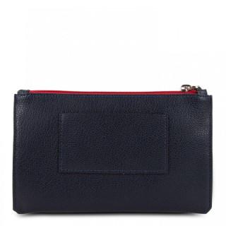 Lancaster Maya Large Pocket Organized 117-05 Dark Blue Ecru and Red