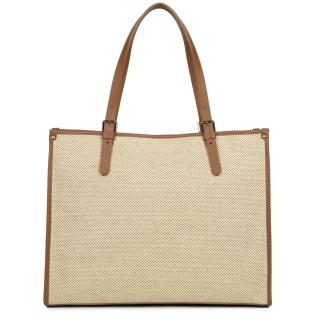 Lancaster Actual Bag Cabas Quadrillage Fabric 418-25 Camel