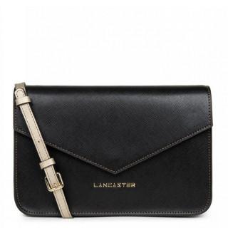 Lancaster Saffiano Signature Crossbody Bag Leather 527-08 Black Camel Champagne