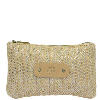Mila Louise Poch Wheat 3 PM Silver Bag and Cosmetic Kit