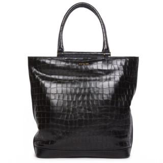 Nat & Nin Edwige Cabas Black Croco Bag
