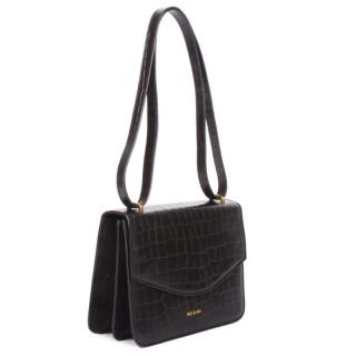 Nat & Nin Hermione Black Croco Shoulder Bag