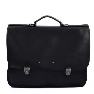 Jean Louis Fourès Baroudeur 3 belows satchel 42 Cm F9970 Black