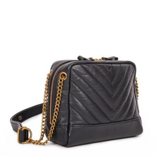 Nat & Nin Rio Messenger Bag Black Leather Gold