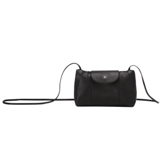 Longchamp The Black Pocket Leather Fold