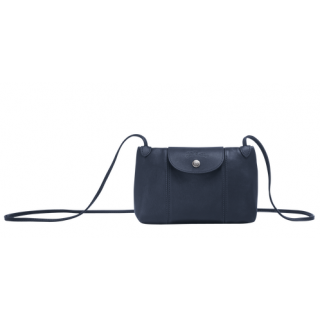 Longchamp The Navy Leather Leather Fold