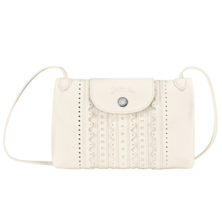 Longchamp The Ivory Lace Leather Fold