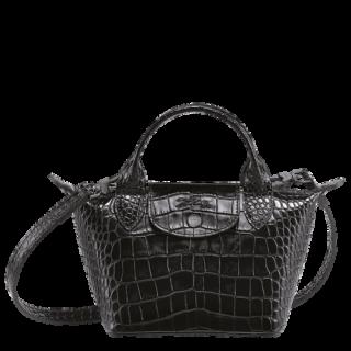 Longchamp The Croco Micro Black Bag Leather Fold