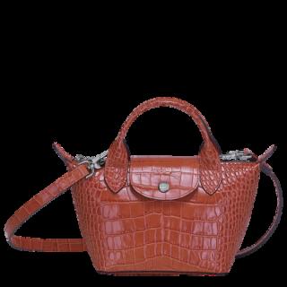 Longchamp Le Pliage Cuir Croco Micro Sac Corail