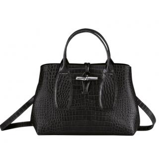Longchamp Roseau Croco Porté Main M Noir