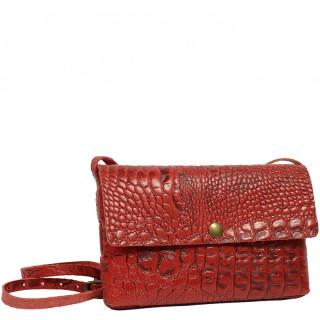 Yolète Andy Bag Leather Pocket Caiman Cherry