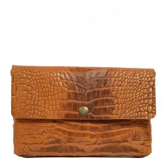 Yolète Andy Bag Leather Pocket Caiman Cognac
