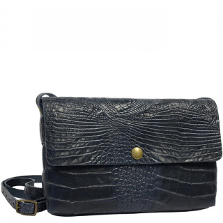 Yolète Andy Bag Leather Pocket Caiman Navy