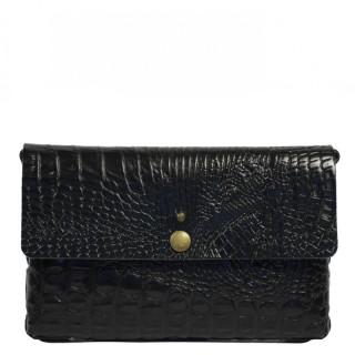 Yolète Andy Bag Leather Pocket Caiman Black