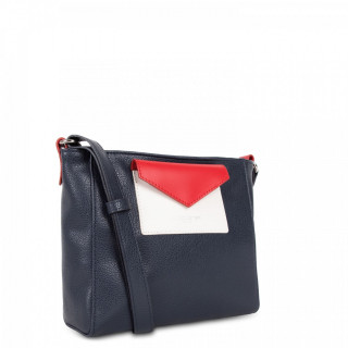 Lancaster Maya Crossbody Bag 517-24 Dark Blue Ecru and Red
