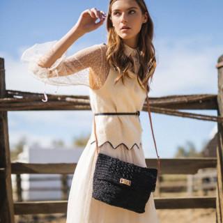 L'atelier Du Crochet Crossbody Bag Raphia Alveola Black