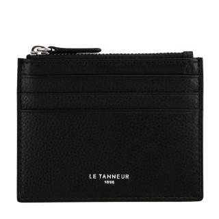 Le Tanneur Charles Card Holder Zippé Leather Grained Black