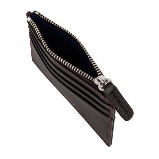 Le Tanneur Charles Card Holder Zippé Leather Grained Coffee-Grenat