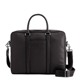 """Le Tanneur Charles Porte Documents 1 Bay 14"""" Leather Grained Coffee"""