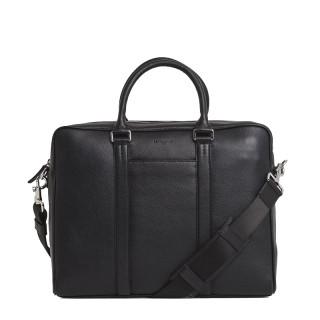 "Le Tanneur Charles Porte Documents 1 Bay 14"" Black Grain leather"