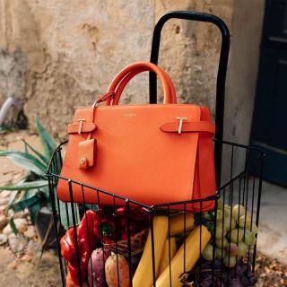 Le Tanneur Emilie Medium Handbag In Citrus Leather