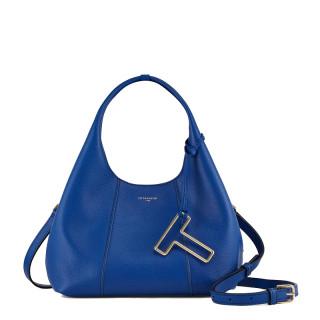 Le Tanneur Juliette Petit Messenger Bag In Blue Leather