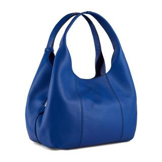Le Tanneur Juliette Grand Messenger Bag In Blue Leather