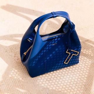 Le Tanneur Juliette Grand Sac Besace En Cuir Bleu