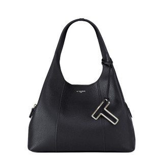 Le Tanneur Juliette Grand Messenger Bag In Black Leather