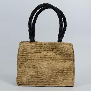 L'atelier Du Crochet Handbag Raphia Keloa Black Tea