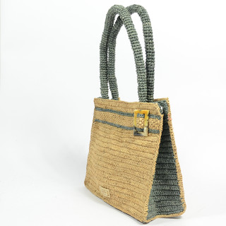 L'Atelier du Crochet Sac A Main Raphia Keloa Thé Gris
