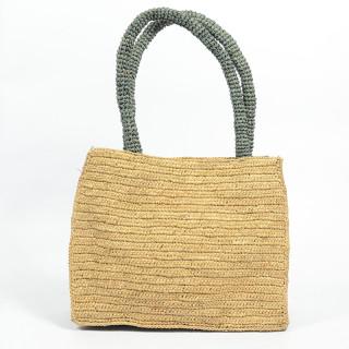 L'atelier Du Crochet Handbag Raphia Keloa Grey Tea