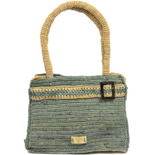 L'atelier Du Crochet Raphia Keloa Grey Handbag