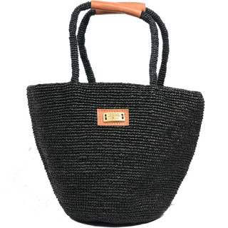 L'atelier Du Crochet Black Bolgoa Crochet Cabas Bag