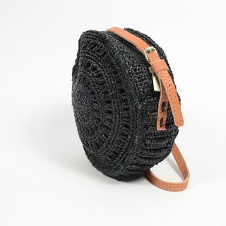 L'atelier Du Crochet Crossbody Bag Round Collimoa Black