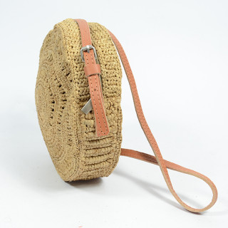 L'atelier Du Crochet Crossbody Bag Collimoa Natural Round