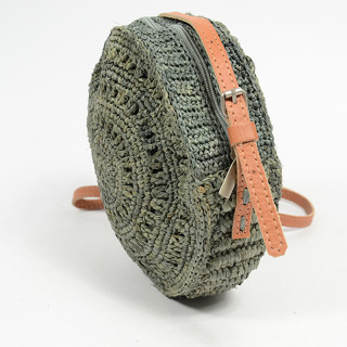 L'atelier Du Crochet Crossbody Bag Round Collimoa Grey