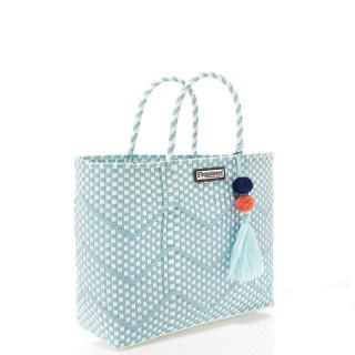 Les Tropéziennes Ipanema L Cabas Basket Braided Grid Turquoise