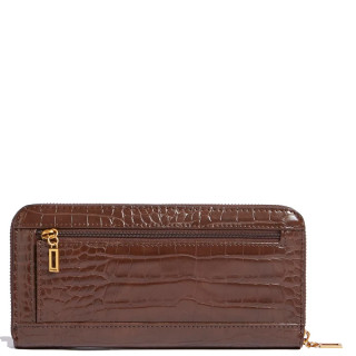 Guess Katey Compagnon Large Zip Around Croco Brown