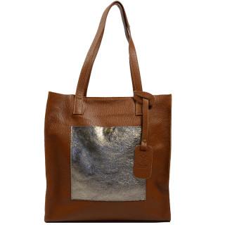 Farfouillette Sac Shopping Rectangle Cuir Camel