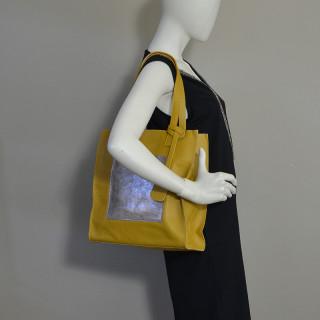 Farfouillette Sac Shopping Rectangle Cuir Moutarde