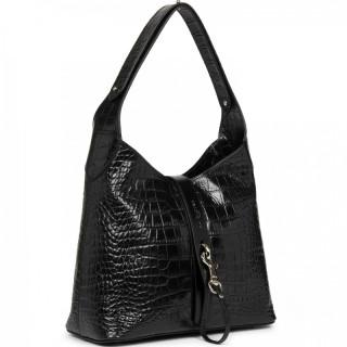 Lancaster Exotic Croco Bucket Bag 426-88 Noir