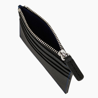 Le Tanneur Charles Card Holder Zippé Leather Grained Black Blue