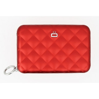 Ogon Quilted Zipper Porte Cartes Red