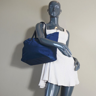 Lancaster Basic Verni Sac Shopping 514-65 Bleu Foncé porté