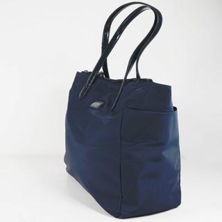 Lancaster Basic Verni Sac Shopping 514-65 Bleu Foncé coté