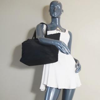 Lancaster Basic Verni Sac Shopping 514-65 Noir porté