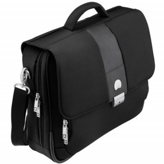 Delsey La Défense cartable 2 soufflets-protection PC Noir profil