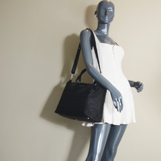 Lancaster Basic Verni Grand Sac Shopping 514-67 Noir porté epaule